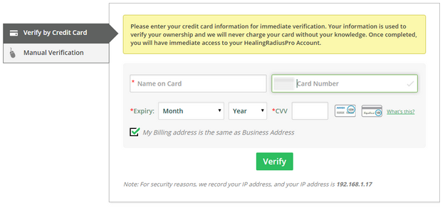 Verify your wellness business ownership by credit card - HealingRadiusPro