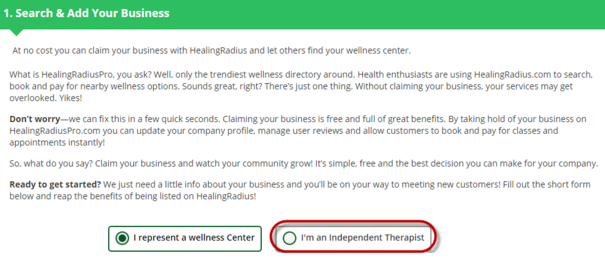 Location and Wellness business name for Independent Therapist - HealingRadiusPro