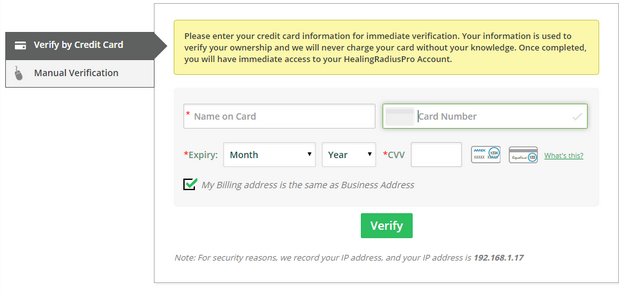 Wellness business ownership verification by credit card